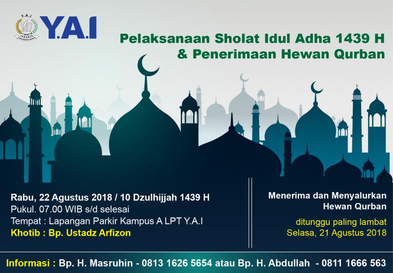 Pelaksanaan Sholat Idul Adha 1439 H & Penerimaan Hewan Qurban